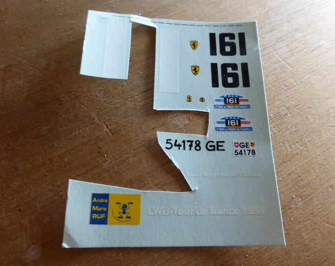 high quality 1:43 decals for AMR Ferrari 250 GT LWB Tour Auto 1959 #161 incomplete original sheet [d-amr13]