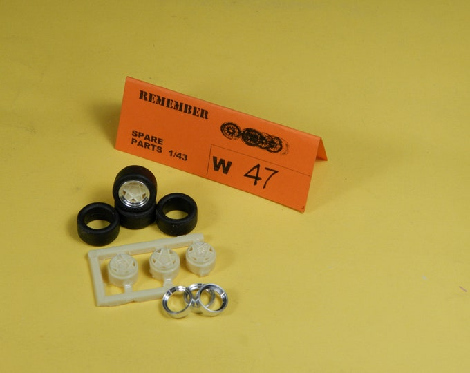 resin and turned aluminium 5-spokes wheel set for Fiat 128 Filipinetti, Group 2 cars, etc. Remember W47 1:43