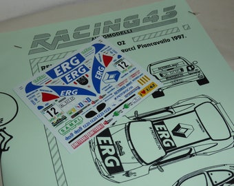 high quality 1:43 decals sheet for Renault Mégane ERG Rally Piancavallo 1997 Andreucci/Fedeli RACING43 RD02