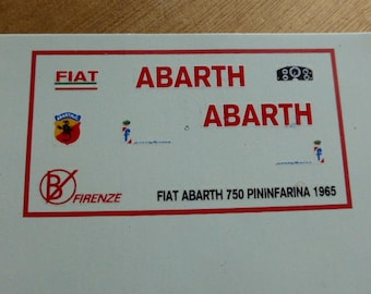 high quality 1:43 decals Fiat Abarth 750 Pininfarina Record car 1958