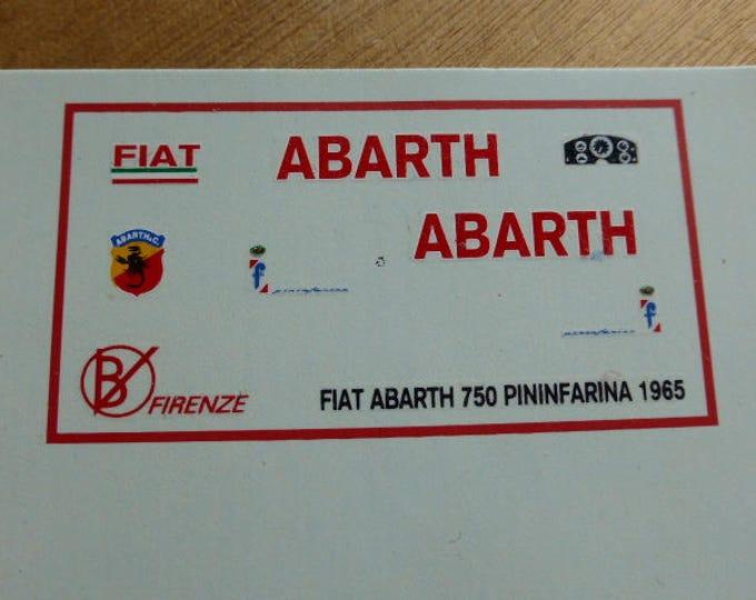 high quality 1:43 decals Fiat Abarth 750 Pininfarina Record car 1958