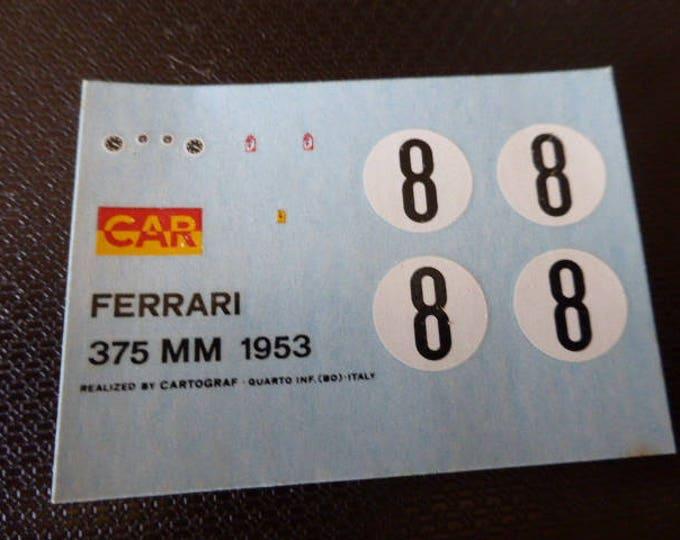high quality 1:43 decals sheet for Ferrari 375 MM Coupé Spa 1953 #8 Cartograf sheet for Bosica model etc.