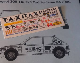 high quality 1:43 decals sheet for Peugeot 205 T16 Evo1 Gr.B Taxi Rally Lanterna 1986 RACING43 RD17