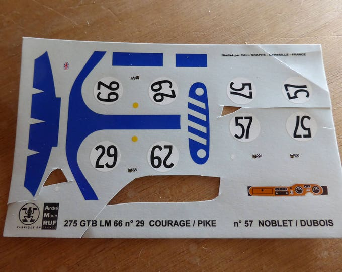 high quality 1:43 decals for AMR Ferrari 275 GTB4 Le Mans 1966 #29/57 incomplete original sheet [d-amr08]