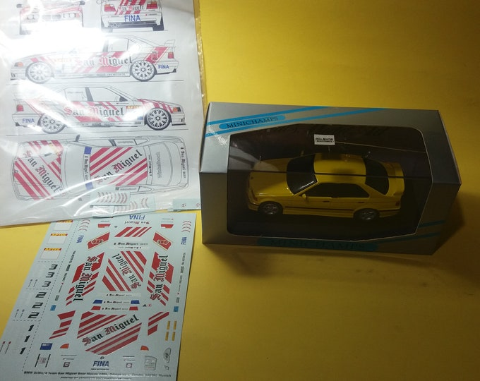 high quality 1:43 decals BMW 318is/4 Schnitzer San Miguel Beer APTCC 1994 (only decals or option including Minichamps base)