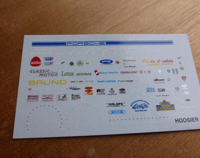 high quality 1:43 decals different logos Kumho, Hoosier, 695 essesse- 595 essesse Abarth etc