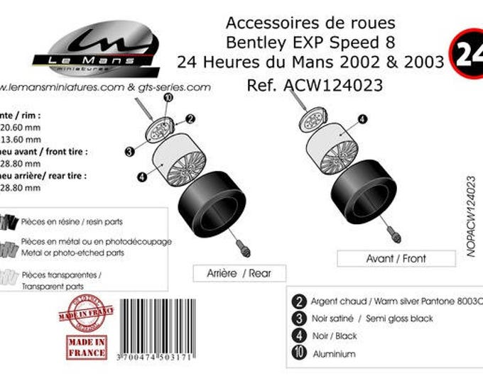1:24 BBS wheels, disc brakes and tires for Bentley EXP8 Speed 2002/2003 and other LMP1 and GT cars Le Mans Miniatures ACW124023