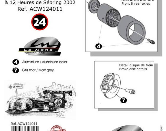 1:24 BBS wheels, disc brakes and tires for Panoz LMP and other LMP1 and GT cars Le Mans Miniatures ACW124011