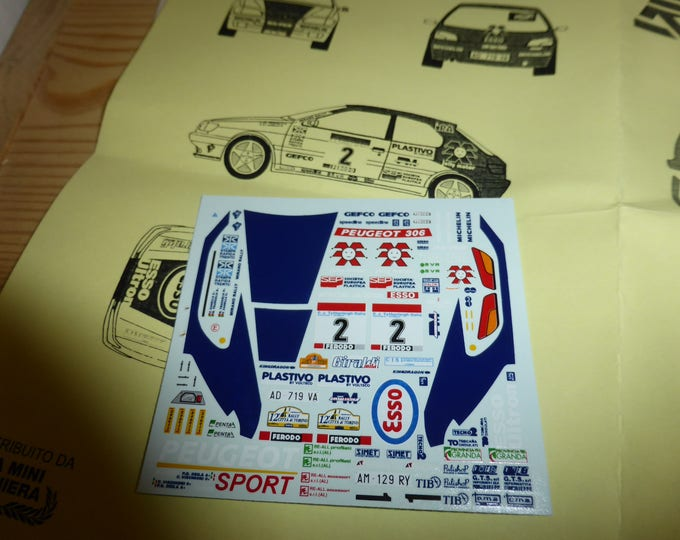 high quality 1:43 decals sheet for Peugeot 306 Gr.A works car Rally Elba/Rally Città di Torino 1997 RACING43 RD06