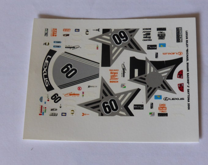 1:43 decals for Riley Lexus Michael Shank Racing 24h Daytona 2006 #60 Provence Miniatures