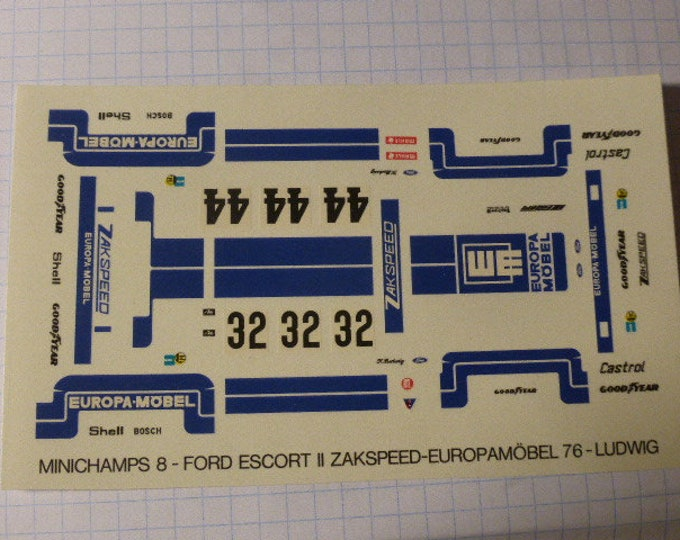 decals for Ford Escort MkII Gr5 Europa Moebel DRM 1976 Klaus Ludwig (2 versions) 1:43 scale [TK229]