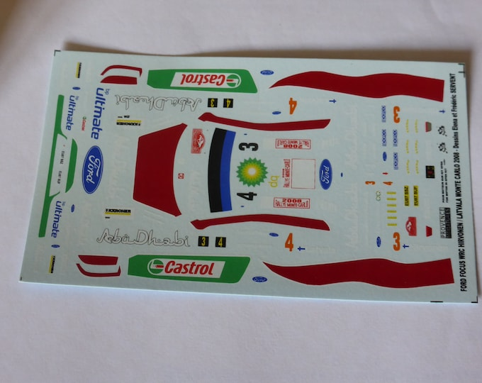 1:43 decals for Ford Focus WRC Castrol Rally Monte Carlo 2008 #3/4 Hirvonen or Latvala Provence Miniatures