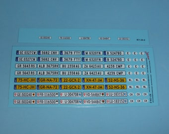 decals for registration plates Spain, Netherlands, Switzerland (plus international ovals) 1:24 scale Tin Wizard IE1-24-2
