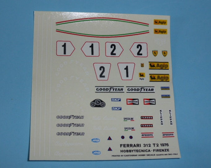 high quality 1:24 decals Ferrari 312 T2 F.1 1976 Lauda and Regazzoni Cartograf TK235
