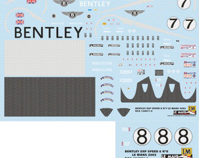 high quality 1:24 decals sheet Bentley EXP Speed Le Mans 2003 #7/8 Le Mans Miniatures DCA124071