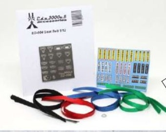 high quality 1:12 scale racing seatbelts (choice of black, red, blue or green) Edo3000V6  ED-004
