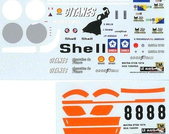 high quality 1:24 decals sheet Matra Simca MS670B Le Mans 1974 #8 Le Mans Miniatures DCA124050