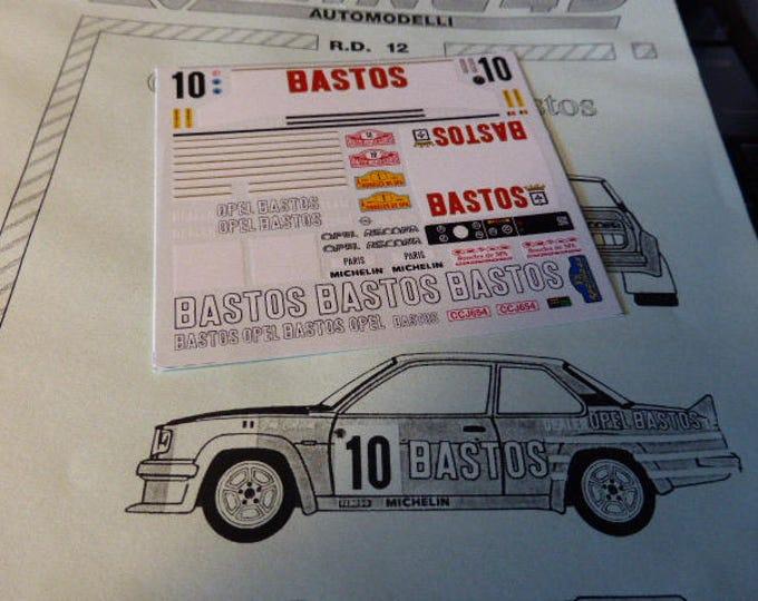 high quality 1:43 decals sheet for Opel Ascona 400 Bastos Rally Montecarlo / Boucles de Spa RACING43 RD12
