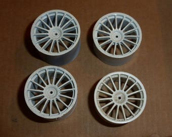Set of 1:18 15-spokes wheels for racing and sport cars high definition (white)