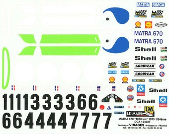 high quality 1:24 decals sheet Matra Simca MS670B Le Mans 1973 all versions Le Mans Miniatures DCA124037