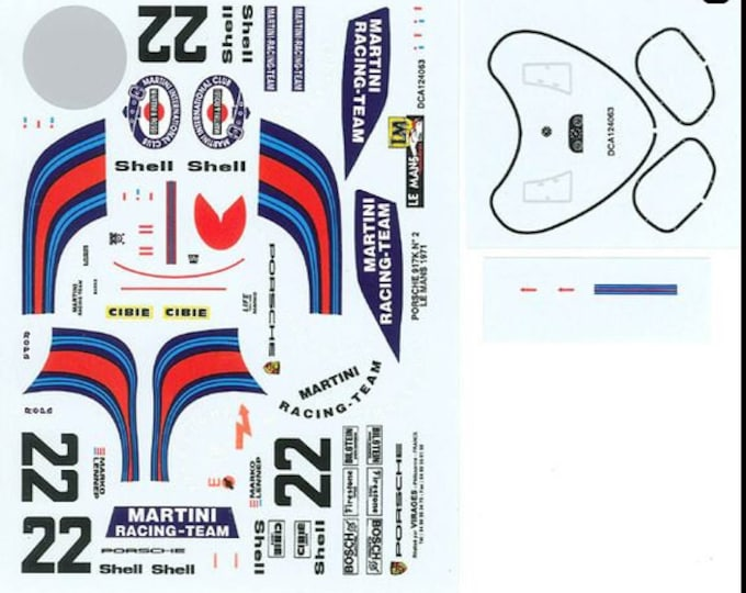 high quality 1:24 decals sheet Porsche 917K Martini Le Mans 1971 winner Marko/Van Lennep Le Mans Miniatures DCA124063