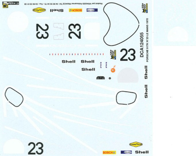 high quality 1:24 decals sheet Porsche 917K Le Mans 1970 winner Herrmann/Attwood Le Mans Miniatures DCA124055