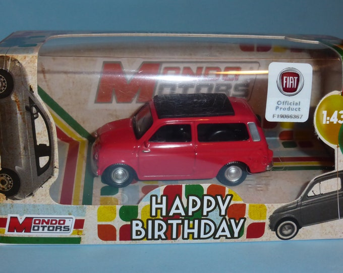 Fiat 500 Giardiniera 1961 red - Mondo Motors Happy Birthday range - Die cast model 1:43 - Brand new in box