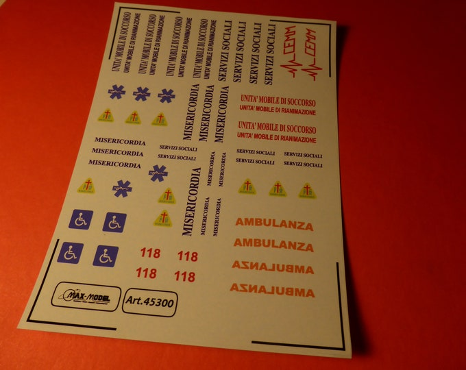1:43 decals for Misericordie Ambulanze (Italy) cars, trucks and other vehicles Max Model #45300
