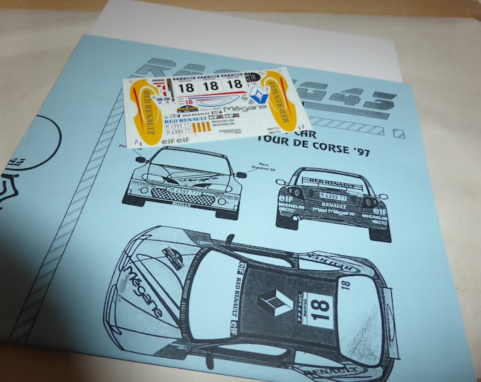 high quality 1:43 decals sheet for Renault Megane Kit-Car Red Renault Rally Catalunya 1997 #18 RACING43 RD22
