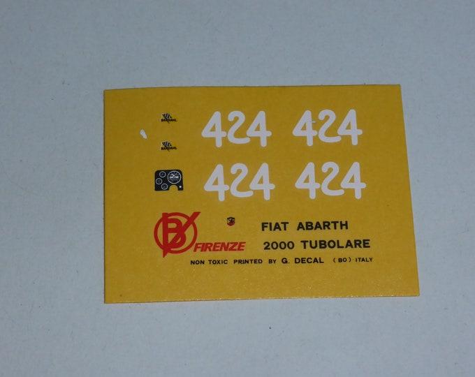 high quality 1:43 decals for Fiat Abarth 2000 SP Tubolare Campionato della Montagna 1966 #424 Cartograf for Barnini