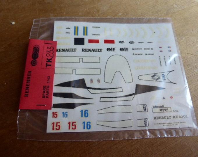 high quality 1:43 decals Renault RE50 Formula 1 1984 Patrick Tambay and Derek Warwick TK233