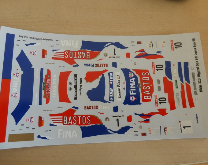 high quality 1:43 decals BMW 320i Bigazzi 24h Spa 1997 #10 and 24h Spa 1998 #1 Interdecal JA985