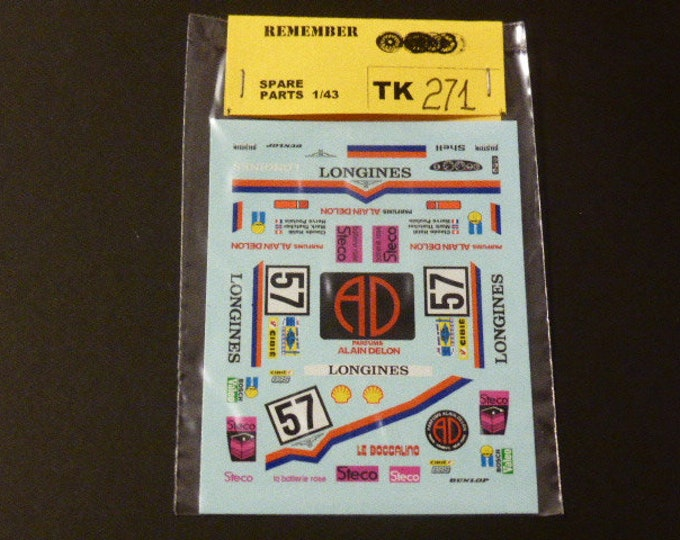 high quality 1:43 decals for Porsche 935 Gr5 Parfums Alain Delon Le Mans 1981 #57 Remember TK271