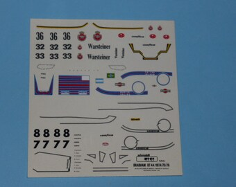 high quality 1:43 decals Brabham-Cosworth BT44 F.1 Martini and Warsteiner 1974/75/76 various cars TK238
