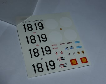 1:43 decals sheet for Ferrari 312 P Coupé Le Mans 1969 #18/19 Tameo TMK30
