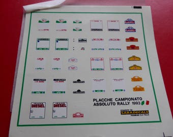high quality 1:43 decals plaques for the 1993 Campionato Italiano Assoluto Rally SARADECALS printing