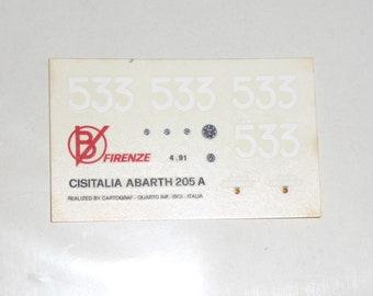 high quality 1:43 decals for Abarth Cisitalia 205A Mille Miglia 1950 #533 Cartograf for Barnini