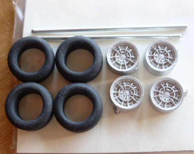white metal  wheels for Abarth, Lancia, Fiat of the 70/80s and other cars 1:43 Carrara 49