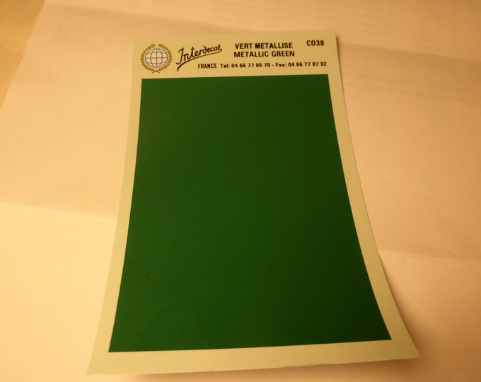 high quality 1:43 decal sheet mm95x140 METALLIC GREEN Tin Wizard CO38