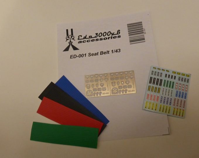 high quality 1:43 scale seatbelts (photoetched sheet, belts, decals) Edo3000v6 ED-001