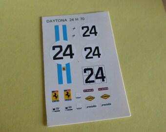1:43 decals sheet for Ferrari 312 P Coupé NART 24 hours Daytona 1970 #24 Tameo