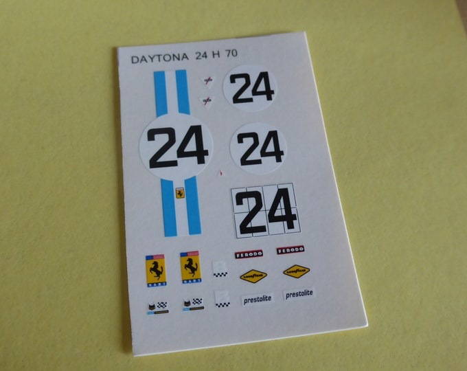 1:43 decals sheet for Ferrari 312 P Coupé NART 24 hours Daytona 1970 #24 Tameo