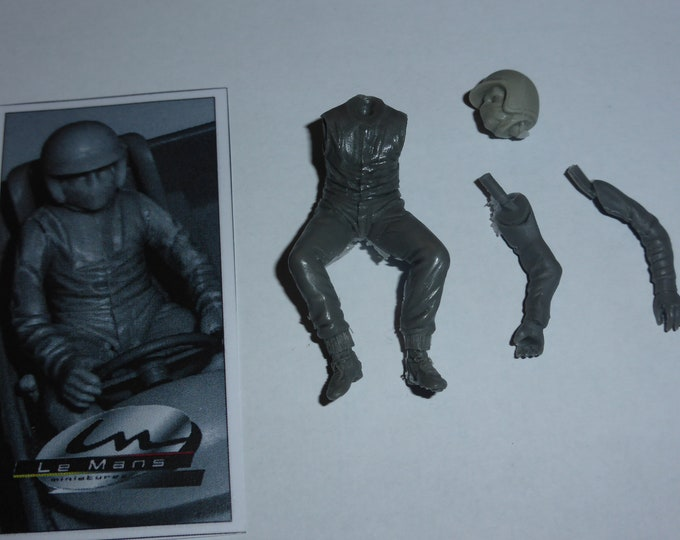 racing driver of the 60-70s sitting at wheel 1:24 scale (to assemble and paint) Le Mans Miniatures FLM124010