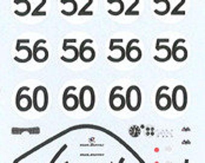 decals sheet for René Bonnet Le Mans 1964 #48/52/56/60 1:43 scale Le Mans Miniatures DCAGTS30