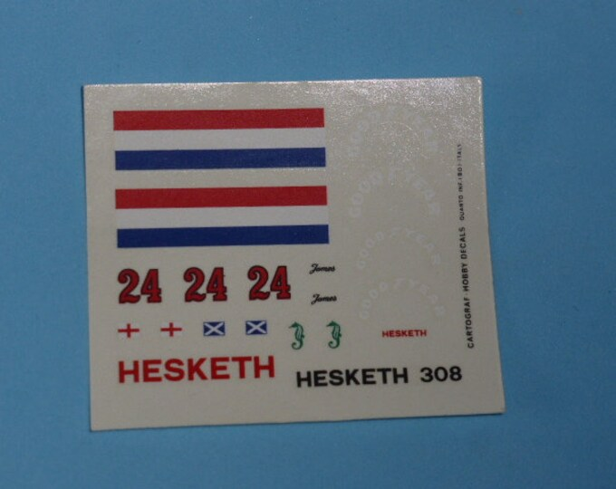 high quality 1:43 decals Hesketh - Cosworth 308 F.1 1974 James Hunt Cartograf TK239