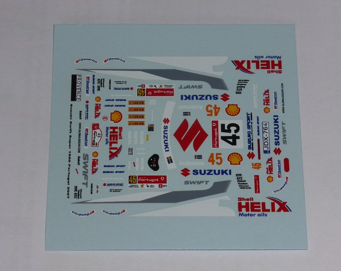 1:43 decals for Suzuki Swift Super 1600 Rally Portugal 2007 #45 Andersson Provence Miniatures