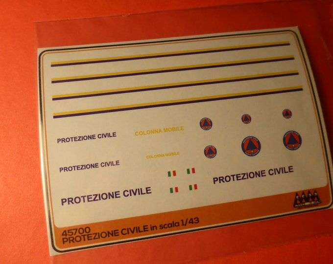 1:43 decals for Protezione Civile (Italy) cars, trucks and other vehicles Max Model #45700
