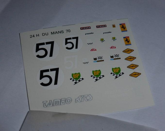 1:43 decals sheet for Ferrari 312 P Coupé NART Le Mans 1970 #57 Tameo TMK31