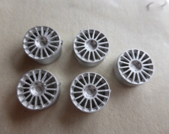 white metal 16-spokes 1:43 wheels for Fiat Punto S2000 and other racing/rally cars etc. (pack of 5 pcs) Racing43 RA165