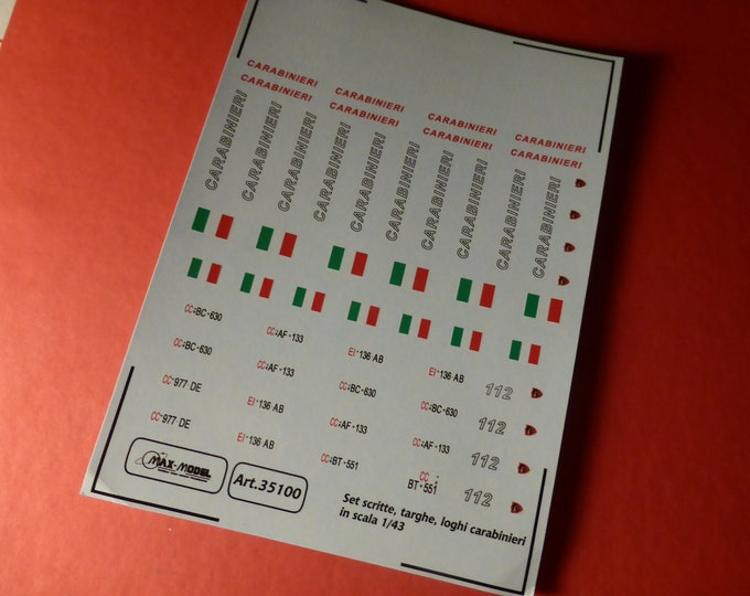 1:43 decals for Carabinieri (Italy) cars, trucks and other vehicles (scripts, registration plaques, emblems) Max Model #35100